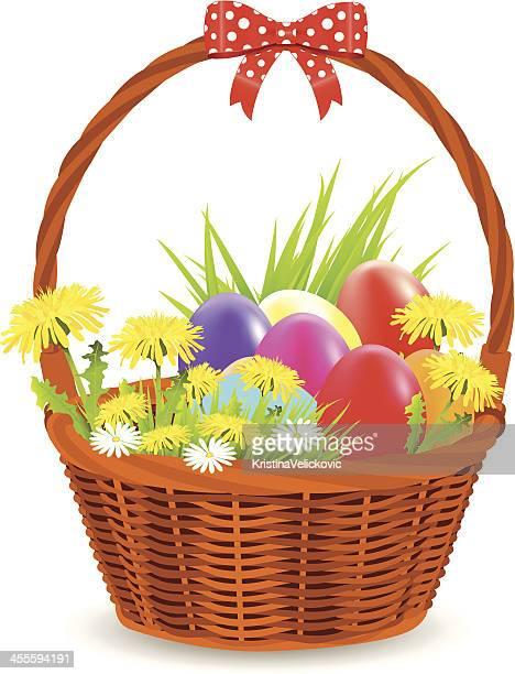 basket with eggs - easter basket stock illustrations