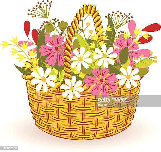 basket with flowers - exclusive to istockphoto. - istock_photo stock illustrations