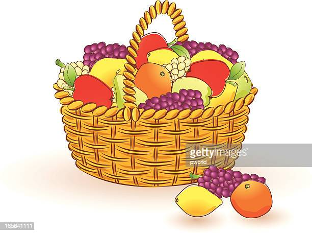 basket  with fruits - exclusive to istockphoto . - istock_photo stock illustrations