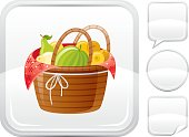 Basket with harvest icon on silver button