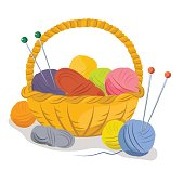 Basket with yarn for knitting