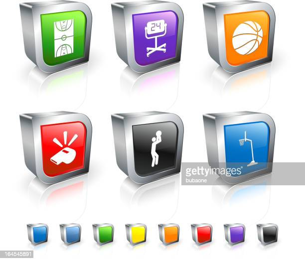 Basketball 3D royalty free vector icon set with Metal Rim