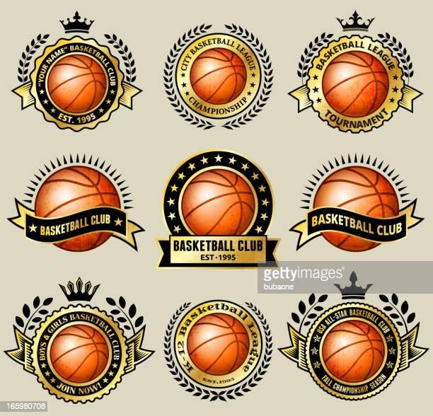 ilustrações, clipart, desenhos animados e ícones de basquete do clube amador no grunge medalha de ouro, conjunto - great seal