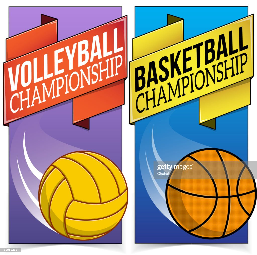 Basketball and volleyball banners isolated on white.