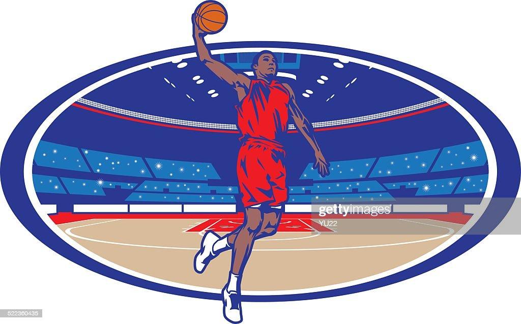 Basketball Arena Dunk : stock illustration