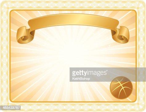 Basketball Award Certificate Background stock illustration ...