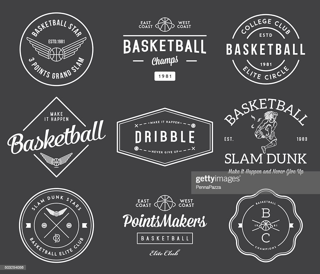 basketball badges white on black