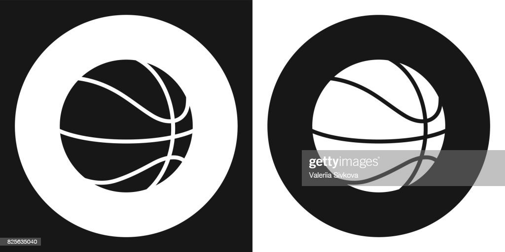 Basketball ball icon. Silhouette basketball ball on a black and white background. Sports Equipment. Vector Illustration.