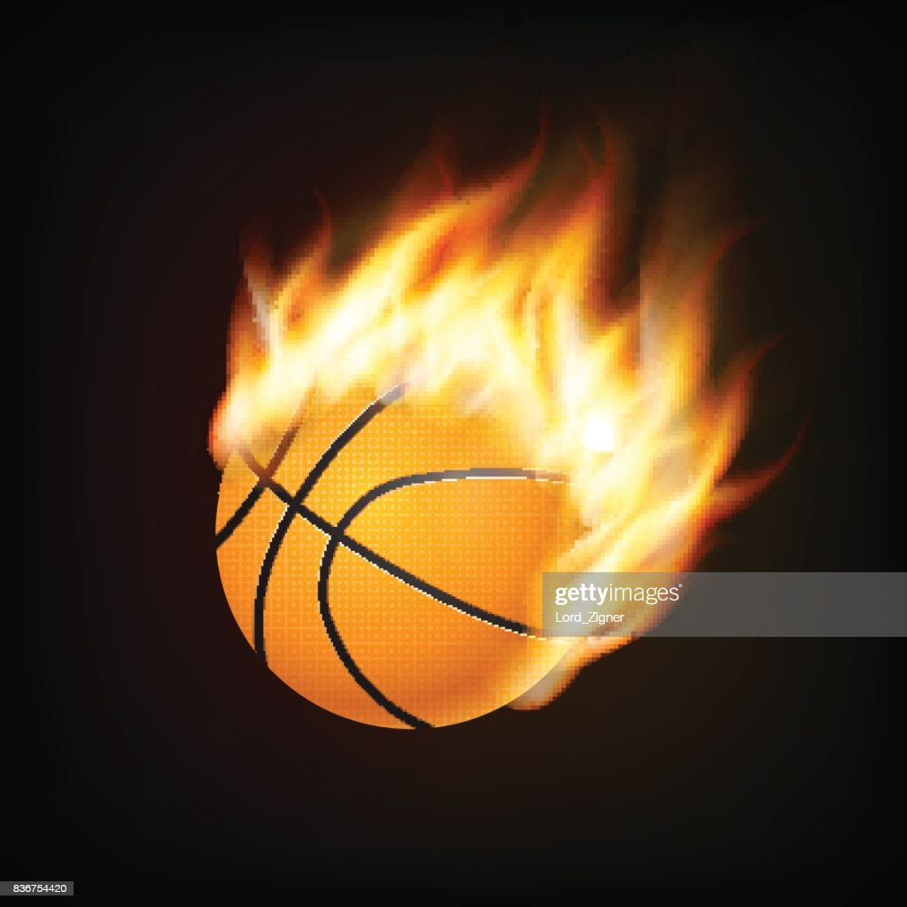 Basketball ball in fire 3D imitation. Fireball in flight. For your business project. Vector Illustration