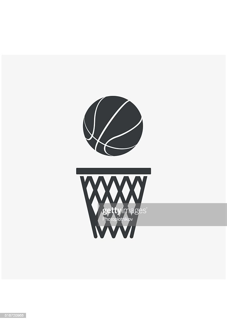 Basketball ball net Icon flat style isolated on grey background.