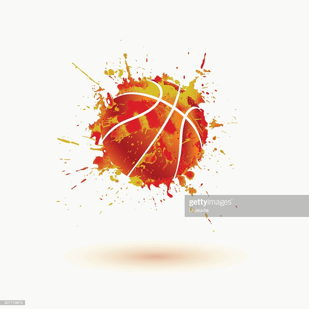 Basketball ball. Vector watercolor splash