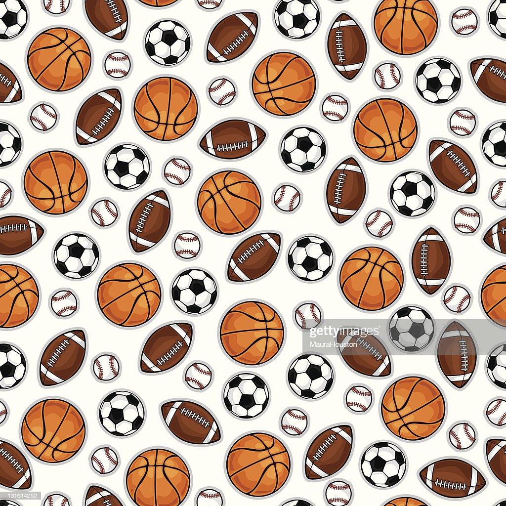 Basketball, baseball, football and soccerball pattern