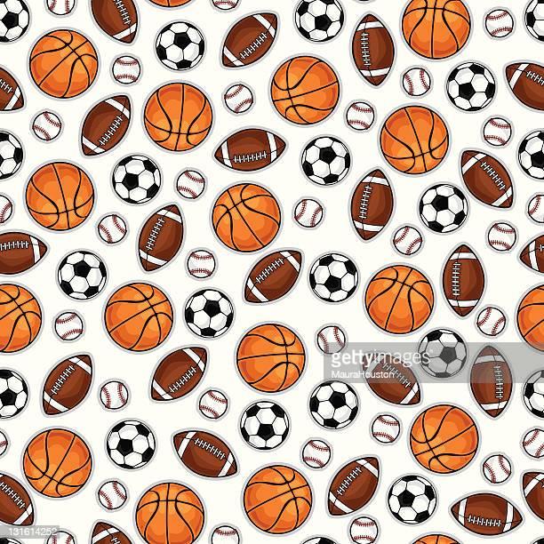 ilustraciones, imágenes clip art, dibujos animados e iconos de stock de de básquetbol, baseball, fútbol y soccerball patrón - cancha futbol