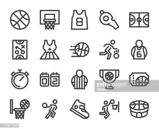 バスケットボール - 太字の線のアイコン - ゴールを狙う点のイラスト素材/クリップアート素材/マンガ素材/アイコン素材