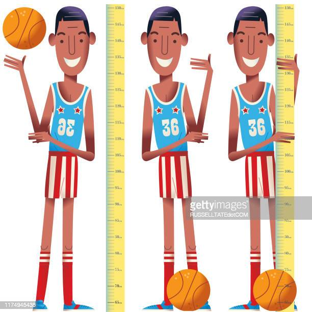 basketball boys - child growth chart stock illustrations, clip art, cartoons, & icons
