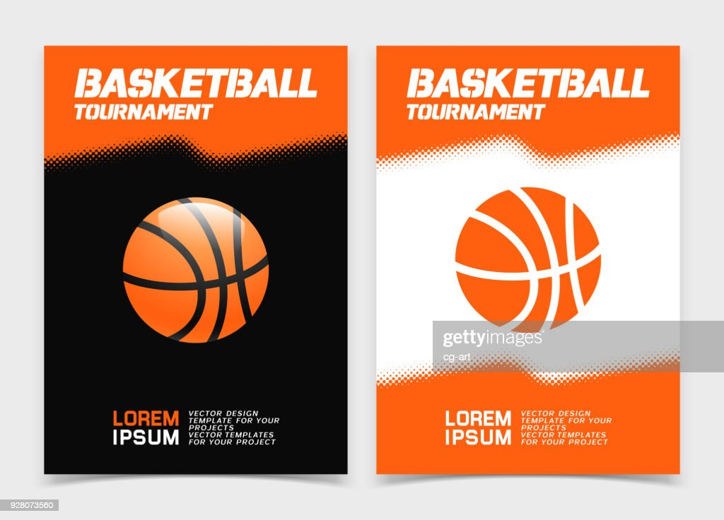 Basketball brochure or web banner design with ball icon