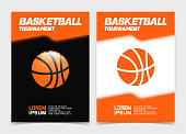 Basketball brochure or web banner design with ball icon