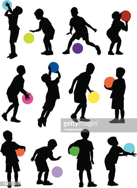 ilustraciones, imágenes clip art, dibujos animados e iconos de stock de campamento de baloncesto - educacion fisica