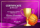 Basketball Certificate Diploma With Golden Cup Vector. Sport Award Template. Achievement Design. Honor Background. A4 Horizontal. Illustration