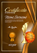 Basketball Certificate Diploma With Golden Cup Vector. Sport Award Template. Achievement Design. Honor Background. A4 Vertical. Illustration
