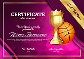 Basketball Certificate Diploma With Golden Cup Vector. Sport Graduation. Elegant Document. Luxury Paper. A4 Horizontal. Championship Illustration