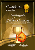 Basketball Certificate Diploma With Golden Cup Vector. Sport Graduation. Elegant Document. Luxury Paper. A4 Vertical. Championship Illustration