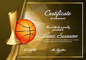 Basketball Certificate Diploma With Golden Cup Vector. Sport Vintage Appreciation. Modern Gift. Print Blank. A4 Horizontal. Event Illustration