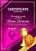 Basketball Certificate Diploma With Golden Cup Vector. Sport Vintage Appreciation. Modern Gift. Print Blank. A4 Vertical. Event Illustration