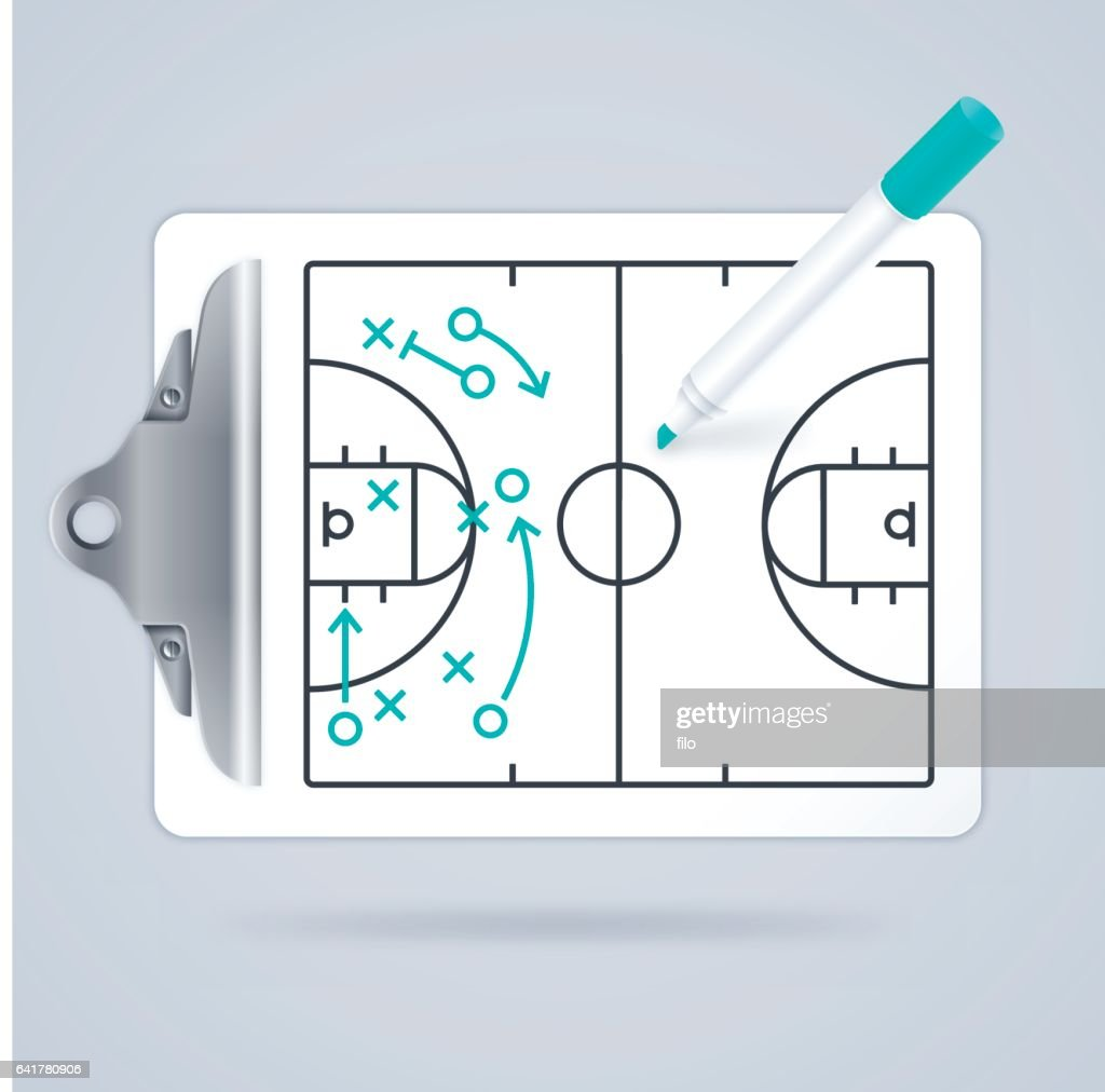 Basketball Clipboard Play Diagram : stock illustration