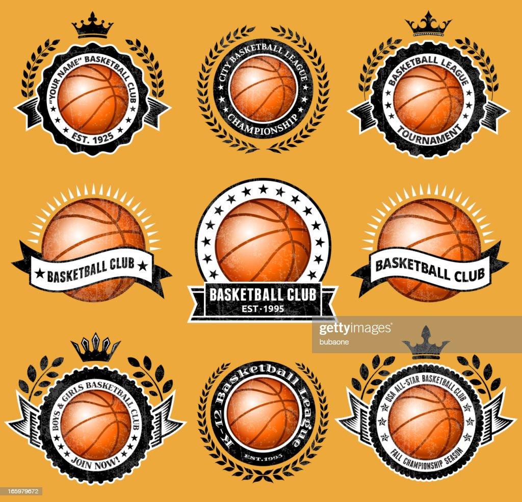 Basketball Club on Grunge Badge Set
