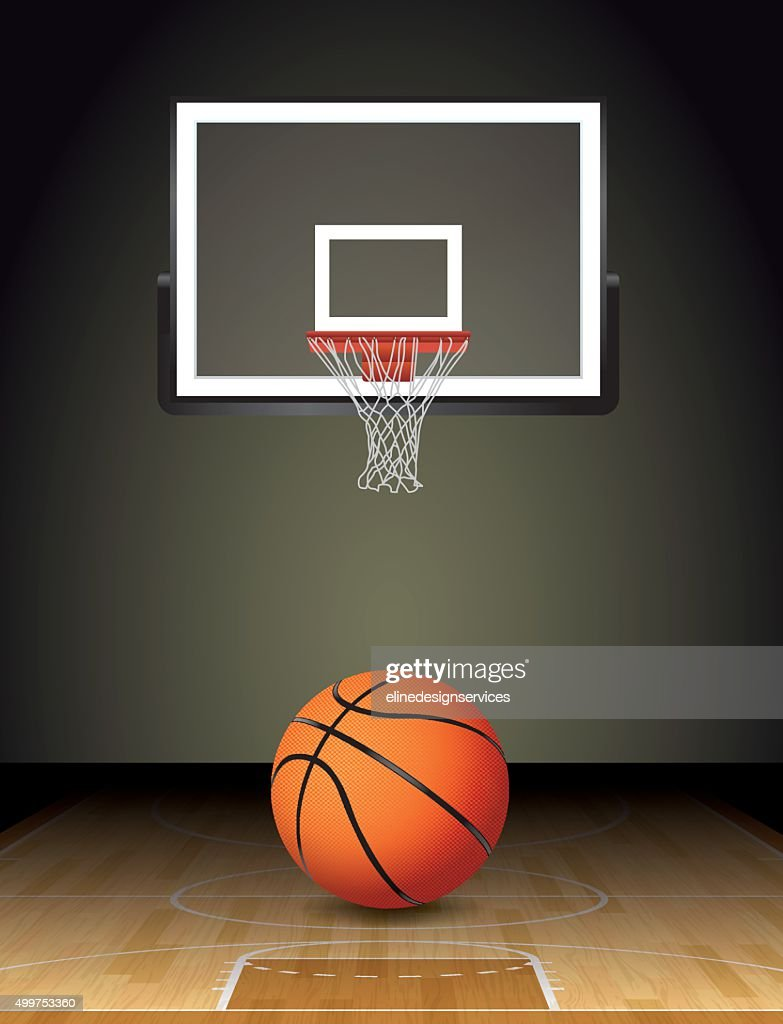 Basketball Court Ball and Hoop Illustration