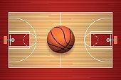 Basketball court floor top view