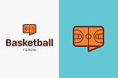 Basketball court icon.
