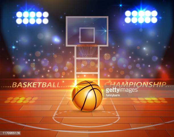 basketball court light - shooting baskets stock illustrations