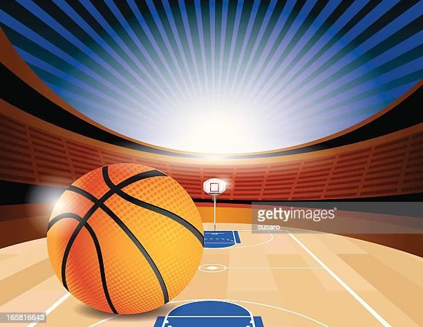 basketball court stadium side - hardwood floor stock illustrations, clip art, cartoons, & icons