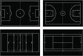Basketball court. Tennis court. American football field. Sport s