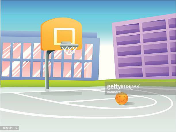 illustrations, cliparts, dessins animés et icônes de terrain de basket-ball - panier de basket