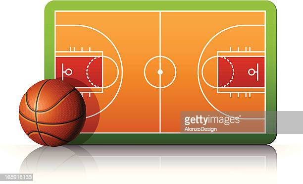 Basketball court with ball and diagram