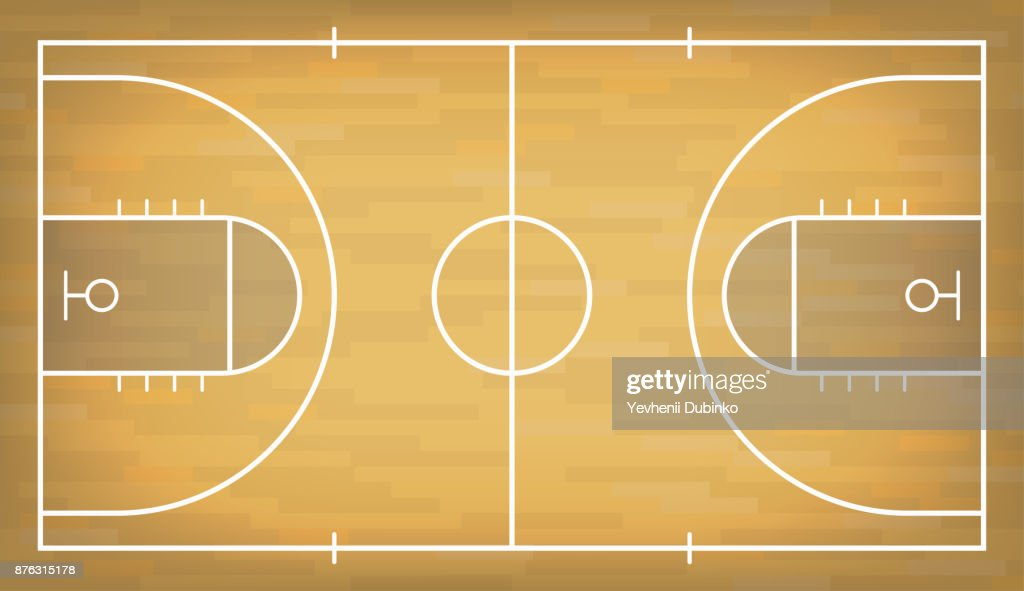 Basketball court with wooden floor. View from above