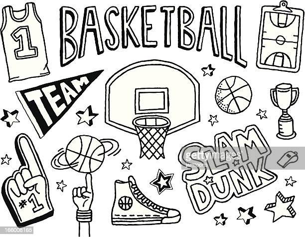 basketball doodles - shooting baskets stock illustrations