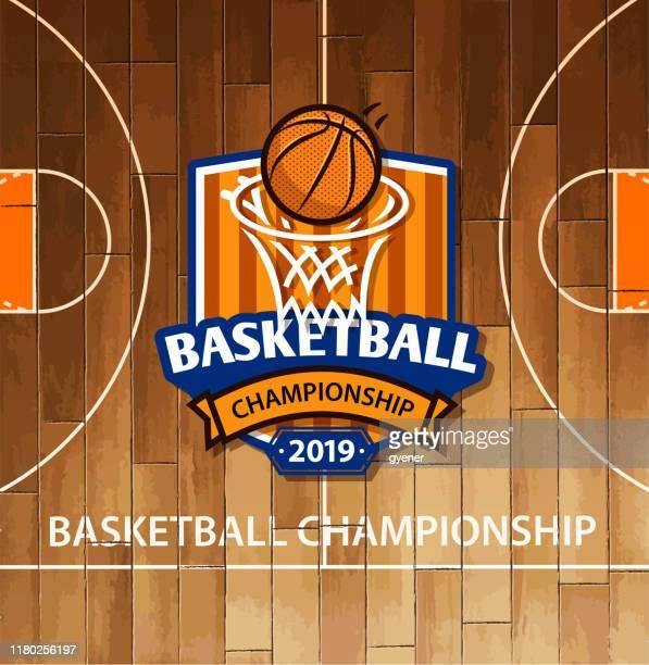 illustrations, cliparts, dessins animés et icônes de étiquette de terrain de basket-ball - ballon de basket