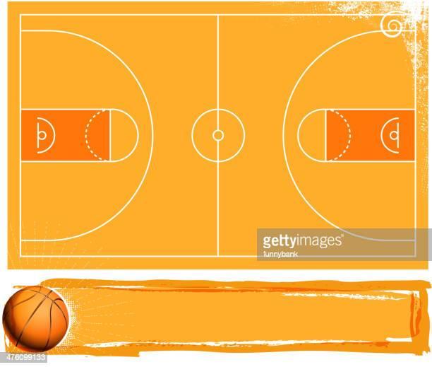ilustraciones, imágenes clip art, dibujos animados e iconos de stock de campo de baloncesto - cancha de baloncesto