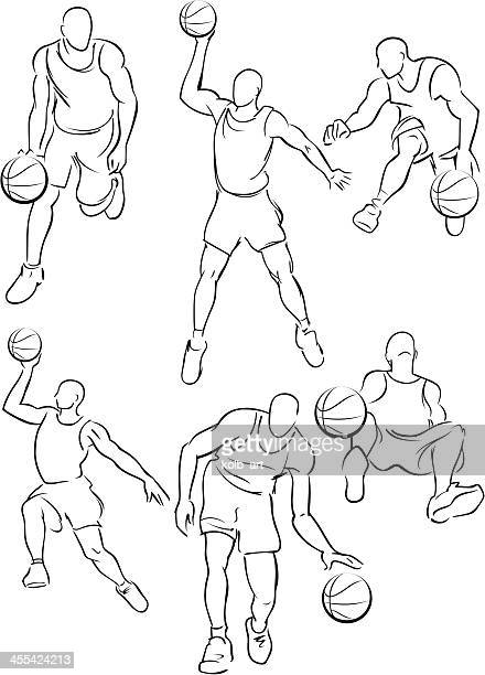 basketball figures 4 - traditional sport stock illustrations, clip art, cartoons, & icons