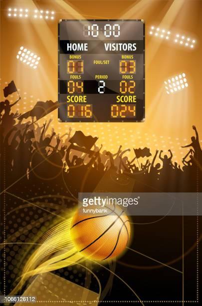 ilustraciones, imágenes clip art, dibujos animados e iconos de stock de puntuación final de baloncesto - cancha de baloncesto