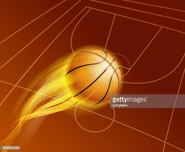 ilustraciones, imágenes clip art, dibujos animados e iconos de stock de básquetbol de incendios - cancha de baloncesto