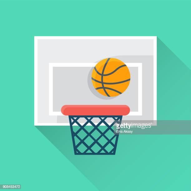 basketball flat icon - basket stock illustrations, clip art, cartoons, & icons