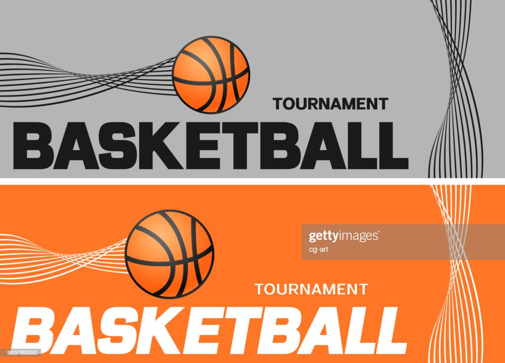 Basketball flyer or web banner design with ball icon