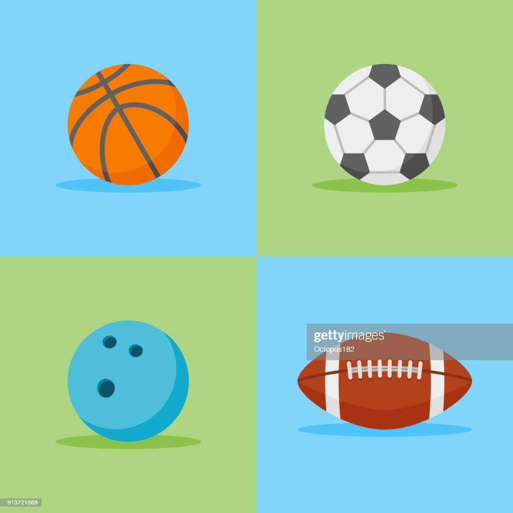 Basketball, football, soccer and bowling balls flat icons. Vector illustration.