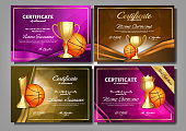 Basketball Game Certificate Diploma Golden Cup Set Vector. Sport Award Template. Achievement Design. Honor Background. A4 Horizontal. Champion. Best Prize. Winner Trophy. Template Illustration