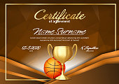Basketball Game Certificate Diploma With Golden Cup Vector. Sport Graduate Champion. Best Prize. Winner Trophy. A4 Horizontal. Illustration